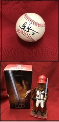 Baseball and bobblehead signed by Washington Nationals pitcher Sean Doolittle